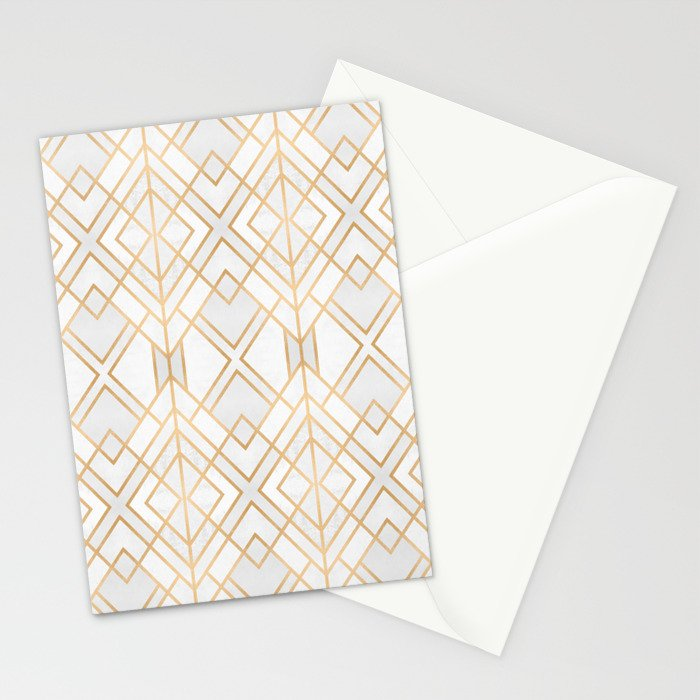 Golden Geo Stationery Cards