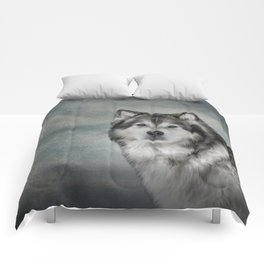 Drawing Dog Alaskan Malamute Comforters
