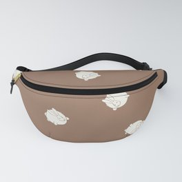Round Bunny Pattern Cream Brown Fanny Pack
