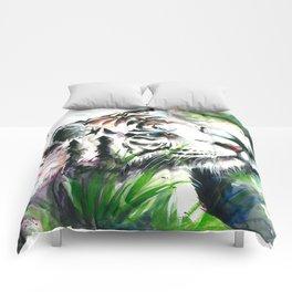 WHITE TIGER WATERCOLOR Comforters