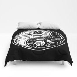 Black and White Yin Yang Roses Comforters
