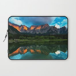 Burning sunset over the mountains at lake Fusine, Italy Laptop Sleeve