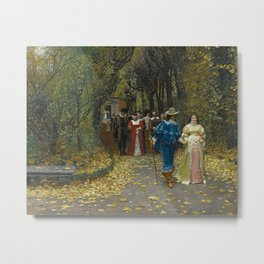 The Lovers (Les Fiances) amazing Versailles Palace landscape painting by Firmin Girard Metal Print