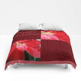 Mottled Red Poinsettia 2 Happy Holidays Q10F1 Comforters