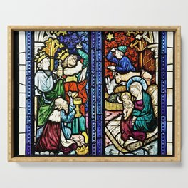 Medieval Stained Glass Painting Nativity Scene Nativity and Adoration of Jesus Christmas Serving Tray