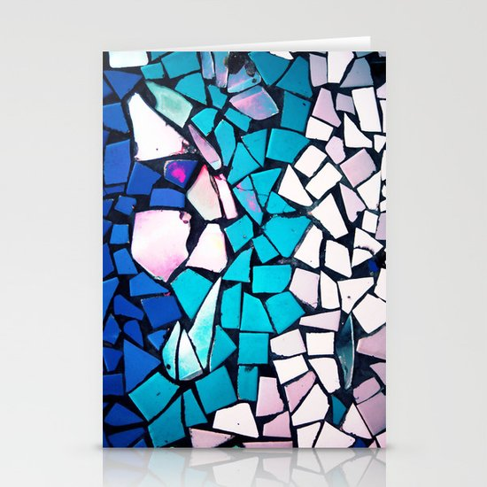 Turquoise and blue mosaic-(photograph) Stationery Cards