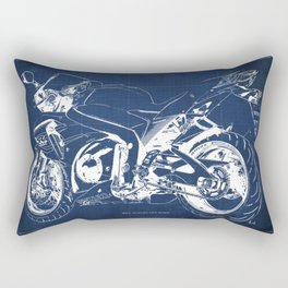 Suzuki motorcycle blueprint, white line, blue vintage background Rectangular Pillow