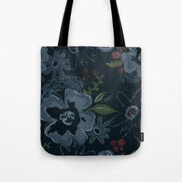 Moody Blues Floral Pattern Tote Bag