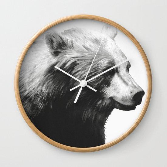 Bear // Calm (Black + White) Wall Clock