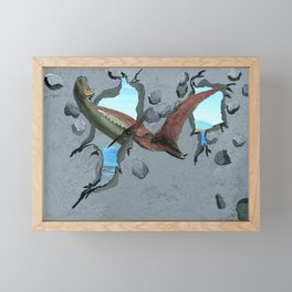 Here Come the Dinosaurs Framed Mini Art Print
