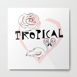 Tropical Flamingo Love rose Metal Print