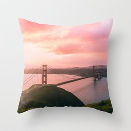 Sherbert Skies over the Golden Gate Bridge from Slackerhill Throw Pillow