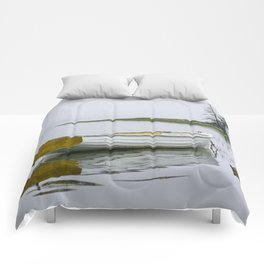 White Maine Boat on a Foggy Morning Comforters
