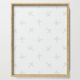 Cute scribble plane in the sky kids doodle background. Serving Tray