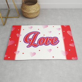Love Poster. Hearts Pattern. Love. Red Pink Hearts. Valentine. Red Background Rug