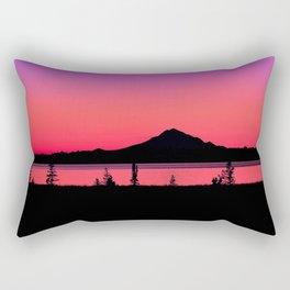 Pink Sunset Silhouette - Mt. Redoubt, Alaska Rectangular Pillow