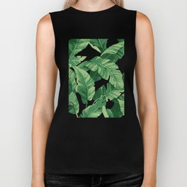 Tropical banana leaves IV Biker Tank
