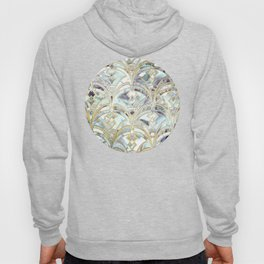 Pale Bright Mint and Sage Art Deco Marbling Hoody
