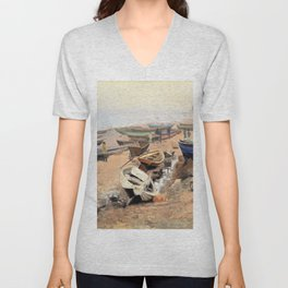 Nils Hansteen - Boats on the Beach at Hirtshals - Digital Remastered Edition Unisex V-Neck