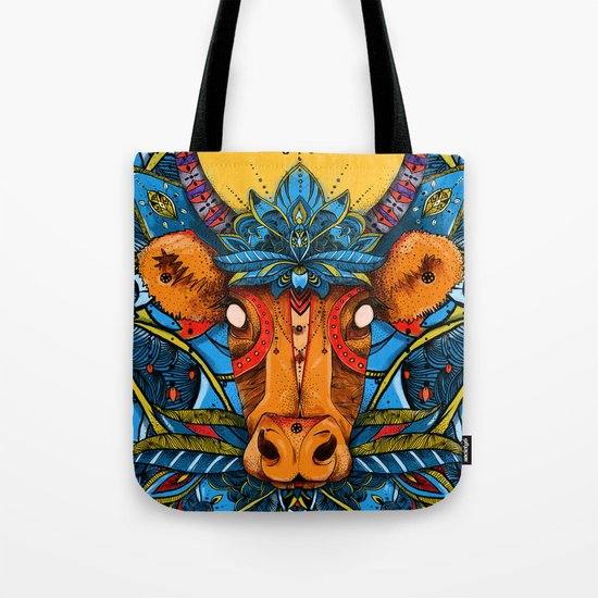 Holy Cow! Blue Lotus Mandala. Tote Bag