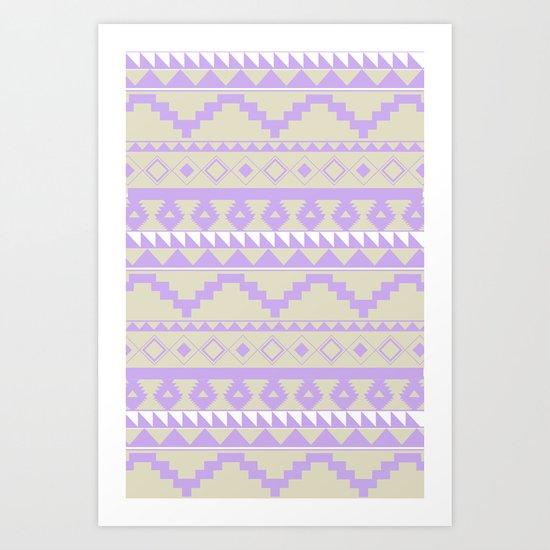 Aztec Pattern 2 Purple & Tan Art Print