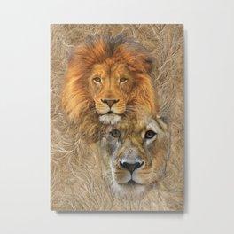 Lion King & Queen Metal Print