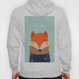 Fox Under Snow in the Christmas Time. Hoody
