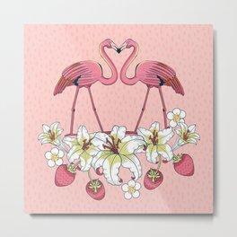 Tropical Flamingo-3 Metal Print