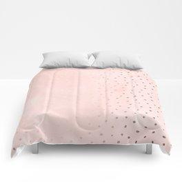 Rose Gold Pastel Pink Foil Paint Line Dots XXIII Comforters