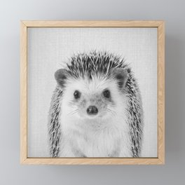 Hedgehog - Black & White Framed Mini Art Print