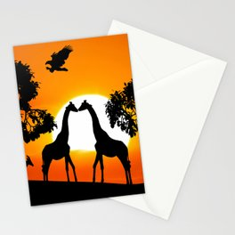 Giraffe silhouettes at sunset Stationery Cards