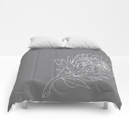 King Protea Outline - Grey and White Comforters
