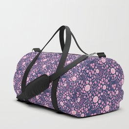 Abstract pink garden pattern in blue marine background Duffle Bag