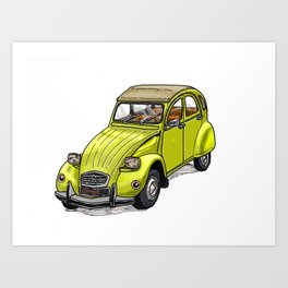 Yellow 2CV Art Print
