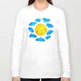 Cute blue cartoon clouds and sun. Long Sleeve T-shirt