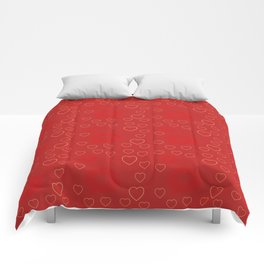 Bright ruby red fancy abstract love style pattern with fine golden hearts and bubbles Comforters