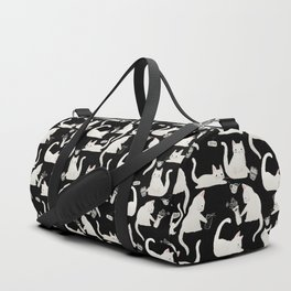 Bad Cats Knocking Things Over, Black & White Duffle Bag