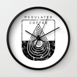 Caffeine on the Brain // Regulated by Coffee Espresso Drip Distressed Living Graphic Design Wall Clock