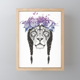 King of lions Framed Mini Art Print