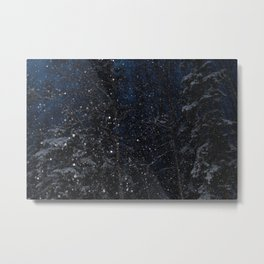 A December Night Snowfall Metal Print