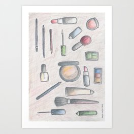 MAKE-UP - pencil and coloured pencil illustration Art Print