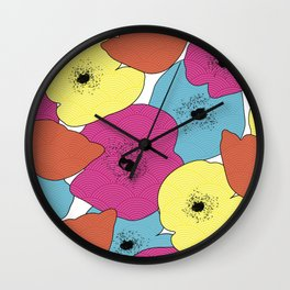 Japanese Poppies Wall Clock