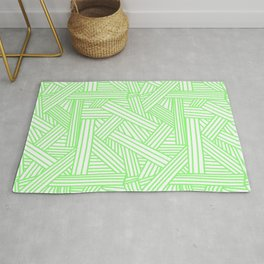 Sketchy Abstract (Light Green & White Pattern) Rug