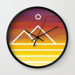 Minimalistic Watercolor Sunset Wall Clock