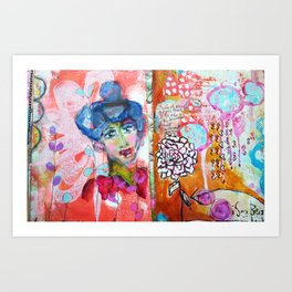 Blue Haired Lady Art Print