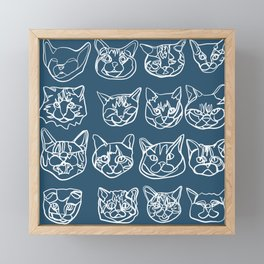 Blue and White Silly Kitty Faces Framed Mini Art Print