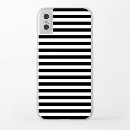 Horizontal Stripes (Black & White Pattern) Clear iPhone Case