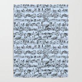 Hand Written Sheet Music // Light Blue Poster