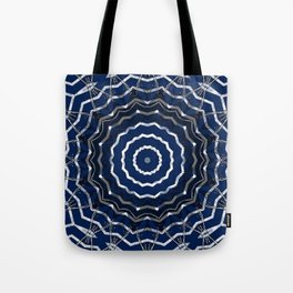 Blue stripes on white grunge textured kaleidoscope Tote Bag