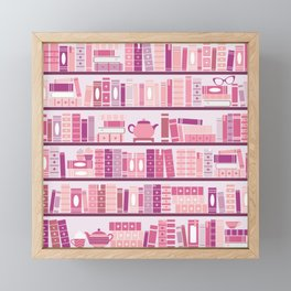 Bookcase Pattern Romance Pink Books Framed Mini Art Print